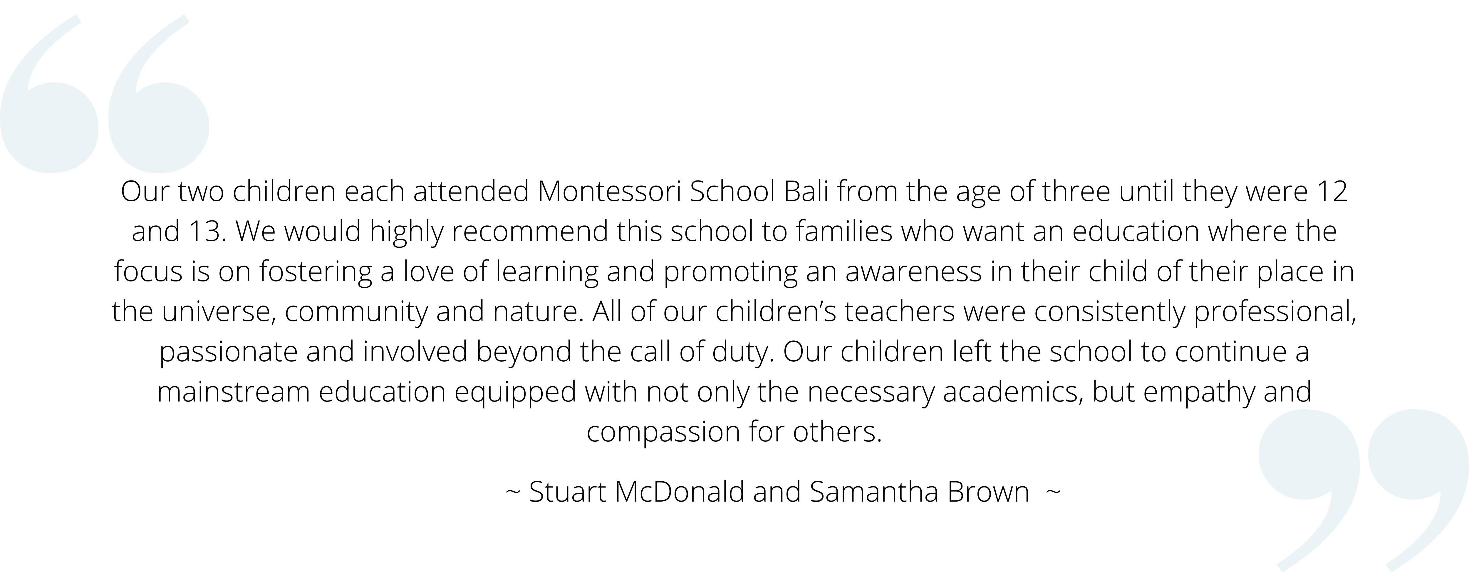 Montessori School Bali Testimonial